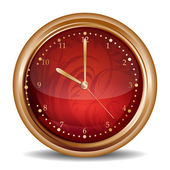 Glossy red clock icon — Stock Vector