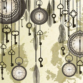 Antique background with grungy map and clocks — Stock Vector
