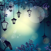 Mystic night background with tree branches and lanterns — Stock Vector