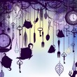 Vintage background with tea cups and clocks in dusk — 图库矢量图片