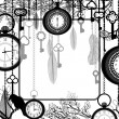 Black and white background with tree branches and antique clocks and keys — Vector de stock