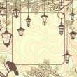 Vintage background with tree branches and retro street lamps - Image vectorielle
