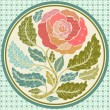 Patch application of a rose in round frame - Stock Vector