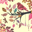 Retro background of tree branch with leaves and bird of patches — Imagen vectorial