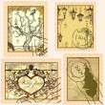 serie di francobolli d'epoca — Vettoriale Stock