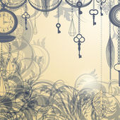 Vintage background with antique clocks and keys — Stock Vector