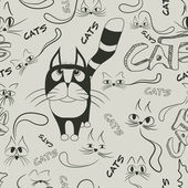 Patrones sin fisuras con los gatos doodle — Vector de stock