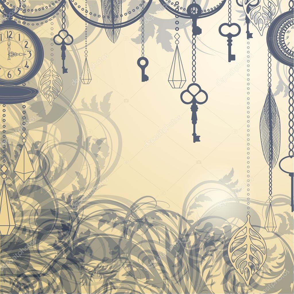 Sfondo vintage con tasti e orologi antichi vettoriali for Reloj de pared vintage 60cm