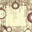 Vintage background with tree branches and antique clocks and keys — Vector de stock