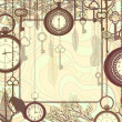 ストックベクタ: Vintage background with tree branches and antique clocks and keys