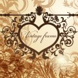 Vintage valentine background with wrought heart frame — Image vectorielle