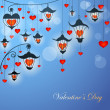 Romantic Valentine card with lanterns and hearts in twilight — Stok Vektör