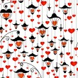 Seamless wallpaper with lanterns and heart for Valentine's day — Imagen vectorial