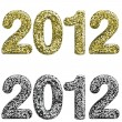 Two 2012 year made with glossy glitter — Stock Vector