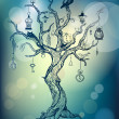 Magic tree on mystic blue background — Stock vektor