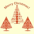 Christmas card with stylized trees -  