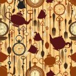 Vintage seamless tea time pattern — Imagen vectorial