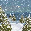 Winter landscape with snow and fir-trees — Image vectorielle