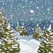 Winter landscape with snow and fir-trees — Imagen vectorial