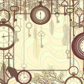 Vintage background with tree branches and antique clocks and keys — Stock Vector