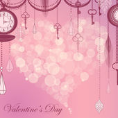 Valentine's card with flare heart ans antique clocks and keys — Vettoriale Stock