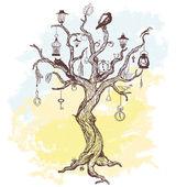 手書きの魔法の木と汚れた背景 — ストックベクタ
