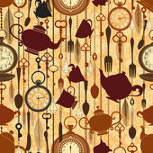 Vintage seamless tea time pattern — Stock Vector