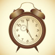 Stock Vector: Vector icon of antique bronze alarm clock