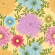 Stock Vector: Summer seamless pattern with daisy, chrysanthemum and dahlia flowers