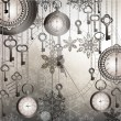 Silver New Year background with antique clocks and keys — Imagens vectoriais em stock