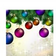 Christmas greeting card with colorful balls - Stock Vector