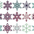 Collection of patch snowflakes. Easy to change colors. All patterns are included. — Stock Vector