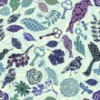 Seamless pattern with patch silhouettes — Stok Vektör