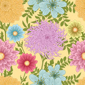 Summer seamless pattern with daisy, chrysanthemum and dahlia flowers — Stock Vector