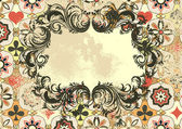 Vintage grunge background with ornament and frame — Stock Vector