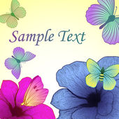 Fondo brillante con flores y mariposas — Vector de stock
