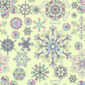 Seamless pattern with retro snowflakes — Vetorial Stock