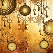 Relojes de oro vintage, llaves y copos de nieve sobre fondo brillante — Vector de stock