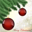Vector grungy background with Christmas ball hanging on fur-tree branch - Stock Vector