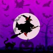 Royalty-Free Stock Vector Image: Halloween background with flying witch