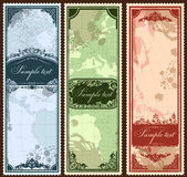 Set of three vintage bookmarks with map parts — Stock Vector