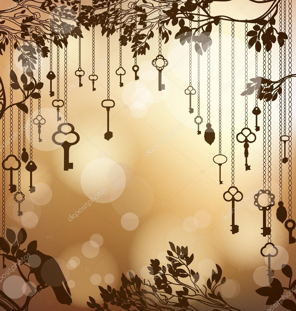Fondo dorado brillante con llaves antiguas vector de for Llaves de bano antiguas