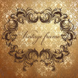 Royalty-Free Stock Immagine Vettoriale: Antique floral frame on seamless golden damask backdrop. Seamless pattern included.