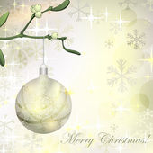 Vector grungy background with Christmas ball hanging on mistletoe branch — Stock Vector