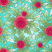 Seamless pattern with rose flowers — Stock Vector