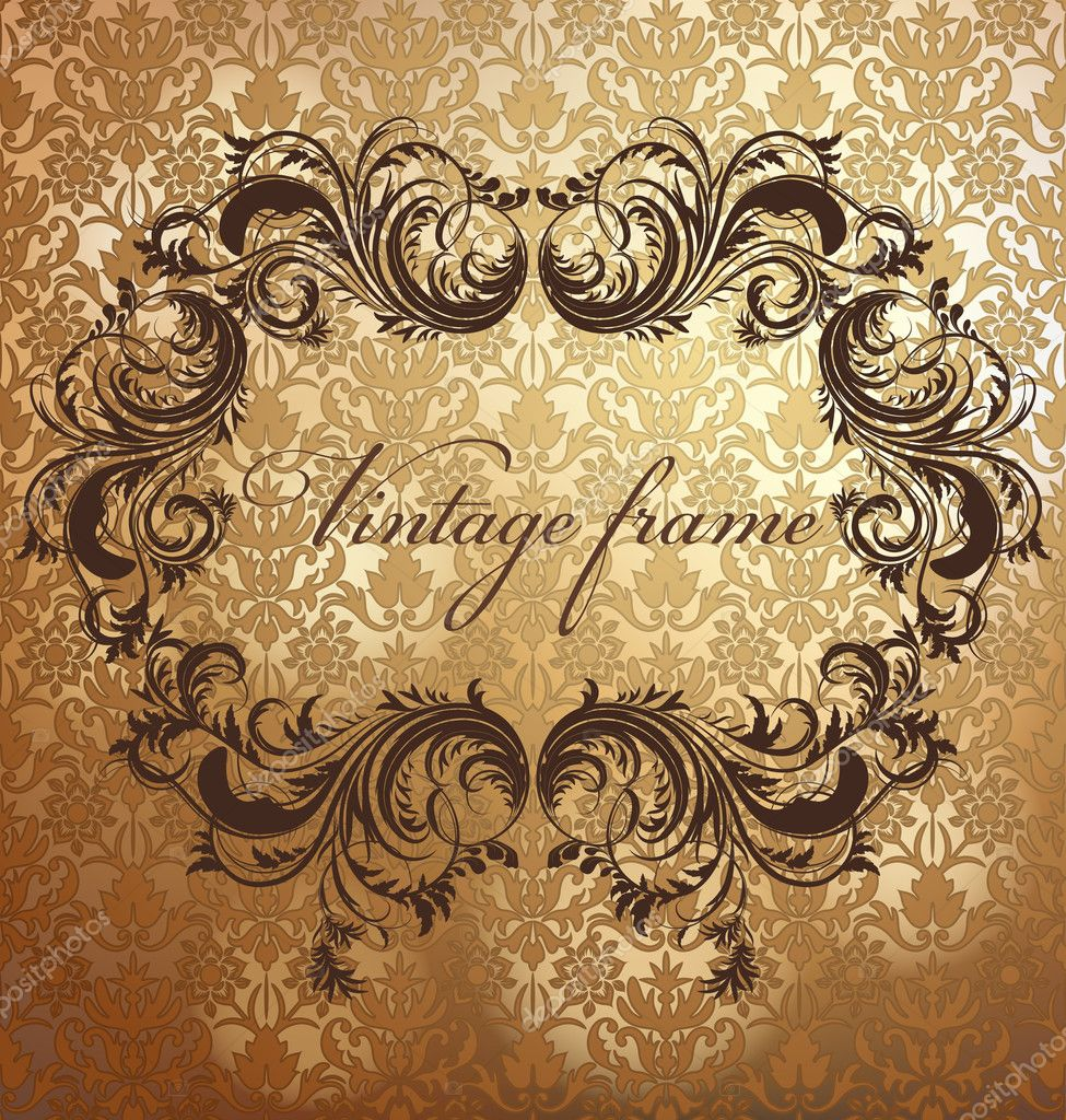 Antique floral frame on seamless golden damask backdrop. Seamless pattern included. — Stock Vector #20280859