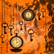 Autumn vintage background with clocks, feathers and keys — Imagens vectoriais em stock