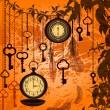 Outono vintage fundo com relógios, penas e chaves — Vetorial Stock