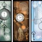 vintage bookmarks com relógios e penas — Vetorial Stock