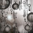 Vintage black and white background for time concept with watches, feathers and keys. — 图库矢量图片